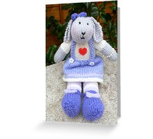 Hand Knitted  Girl  Rabbit Greeting Card