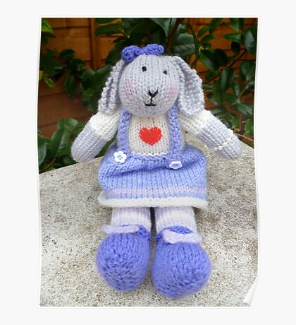Hand Knitted  Girl  Rabbit Poster