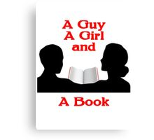 A Guy A Girl and A Book Canvas Print