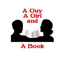 A Guy A Girl and A Book Photographic Print