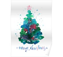 Christmas tree watercolor illustration Poster
