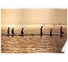 Friends Walking In The Ocean Poster