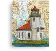 Alki Pt Lighthouse WA Nautical Chart Cathy Peek Canvas Print