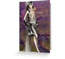 Victorian Lady Classic Art Deco Flapper Design Greeting Card