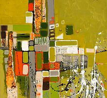 Olive green abstract III. by Miroslava Balazova