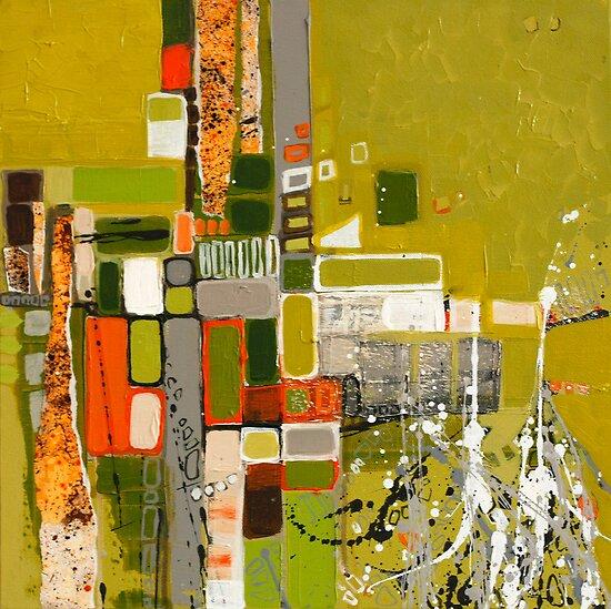 Olive green abstract III. by Miroslava Balazova