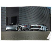 Porsche 911 Cabrio 3,8 Turbo + Audi R8 V10 Spyder  Poster