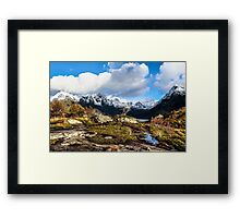 Norwegian Mountains, Snow, and Fjords Framed Print