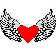 Feathered Wings and Heart Photographic Print