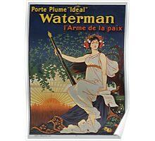 Porte plume Ideal Waterman larme de la paix Poster