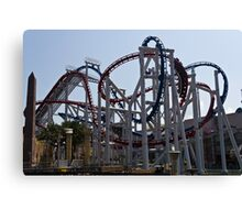Roller coaster rides inside the Universal Studio Park in Sentosa in Singapore Canvas Print
