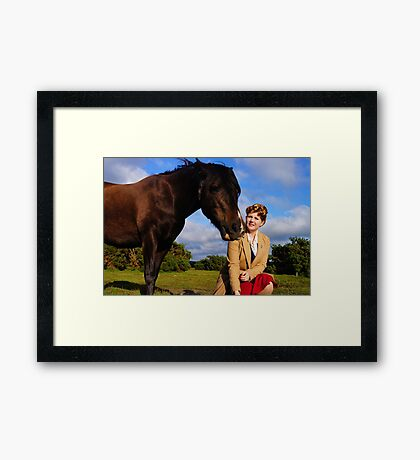 With the horses. Framed Print