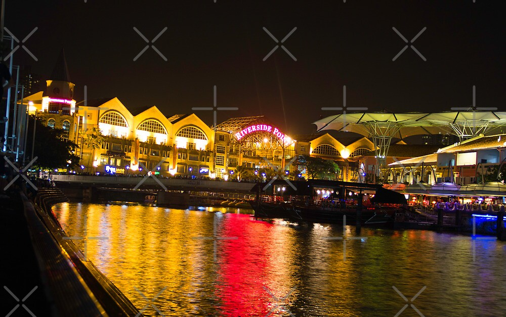Shimmering lights and reflection in river water at Clarke Quay in Singapore by ashishagarwal74