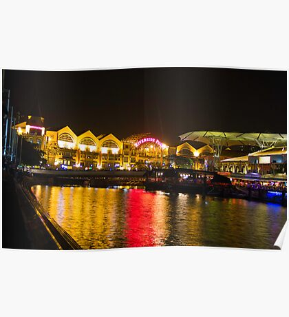 Shimmering lights and reflection in river water at Clarke Quay in Singapore Poster