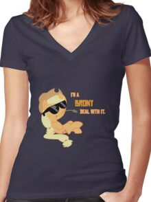 I'm a Brony Deal with it. (Apple Jack) - My little Pony Friendship is Magic Women's Fitted V-Neck T-Shirt