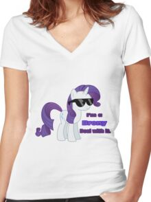 I'm a Brony Deal with it. (Rarity) - My little Pony Friendship is Magic Women's Fitted V-Neck T-Shirt