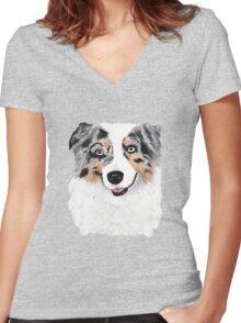 Toby ~ Australian Shepherd ~ Oil Painting Women's Fitted V-Neck T-Shirt