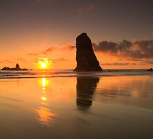 Beautiful Orange Sunset at The Needles - Haystack Rock - Cannon Beach, Oregon by Brian Harig