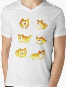 Watercolor Corgi Mens V-Neck T-Shirt