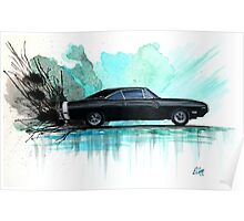 Watercolor Painting of a 1970 Black Dodge Charger RT Poster