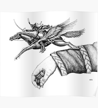 Flying Hussar surreal pen ink black and white drawing Poster