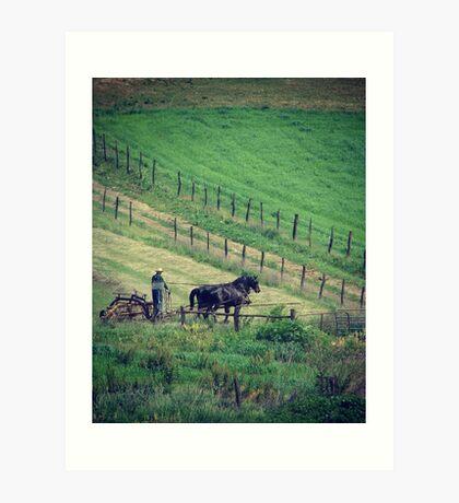 Working Horses in Summer, Haying Art Print
