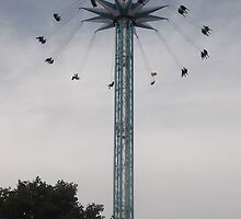 London Eye/nearby Roller Coaster rides -(260812)- Digital photo by paulramnora