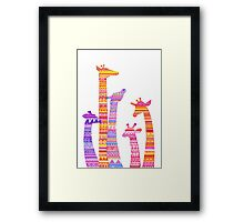 Giraffe Silhouettes in Colorful Tribal Print Framed Print