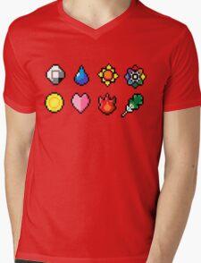 Indigo League Badges Mens V-Neck T-Shirt
