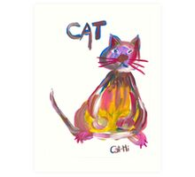 Colorful Cat - Sitting Art Print