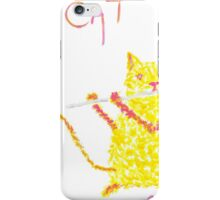 Yellow Cat Playing Flute iPhone Case/Skin