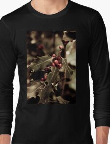 Holly bush with red berries III Long Sleeve T-Shirt