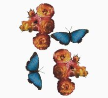 orange roses and blue butterfly Kids Clothes