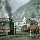 Steam engines Greymouth NZ 19650309 0099  by Fred Mitchell