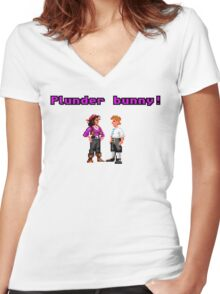 Monkey Island Plunder Bunny Retro Pixel DOS game fan item Women's Fitted V-Neck T-Shirt