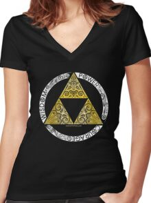Zelda - Triforce circle Women's Fitted V-Neck T-Shirt