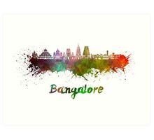 Bangalore skyline in watercolor Art Print