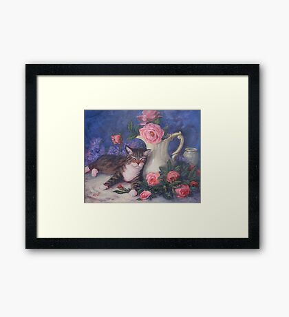 Striped Cat Pink Roses Framed Print