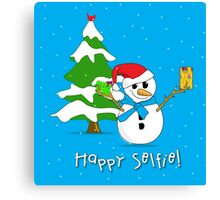 Snowman Taking Selfie in Front of a Snow Covered Tree Canvas Print