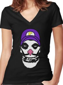 Misfit Waluigi Women's Fitted V-Neck T-Shirt