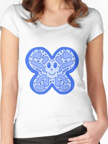 Blue Butterfly Face Women's Fitted Scoop T-Shirt