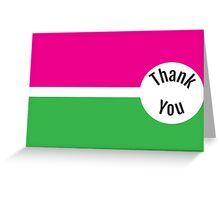 Pink and Green Thank You Greeting Card