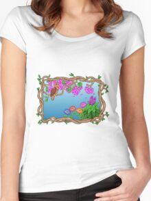 Bird in a Blossom Garden Women's Fitted Scoop T-Shirt
