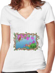 Bird in a Blossom Garden Women's Fitted V-Neck T-Shirt
