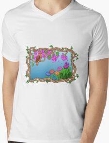 Bird in a Blossom Garden Mens V-Neck T-Shirt