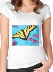 Yellow Swallowtail Women's Fitted Scoop T-Shirt
