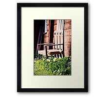The Bench and Tulips. Framed Print