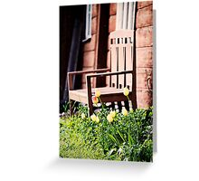 The Bench and Tulips. Greeting Card