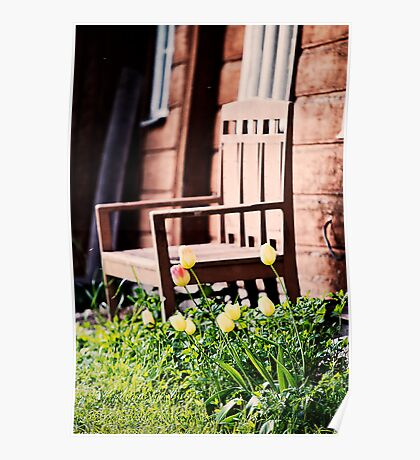 The Bench and Tulips. Poster