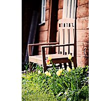 The Bench and Tulips. Photographic Print